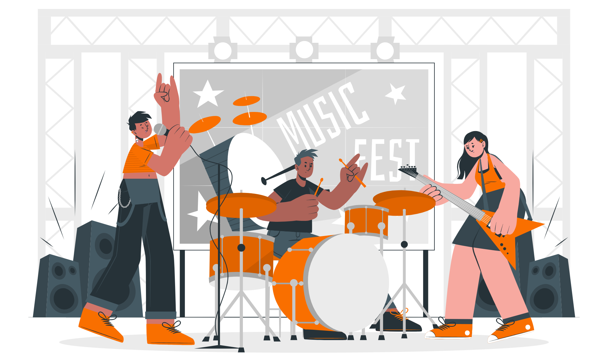 Cartoon graphics banner for free band name generator from Student of Guitar